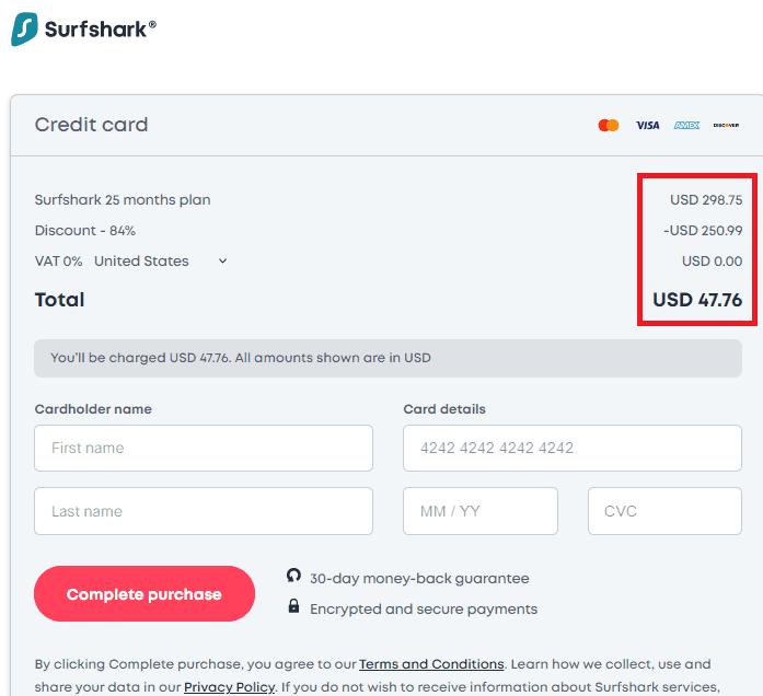 surfshark 信用卡