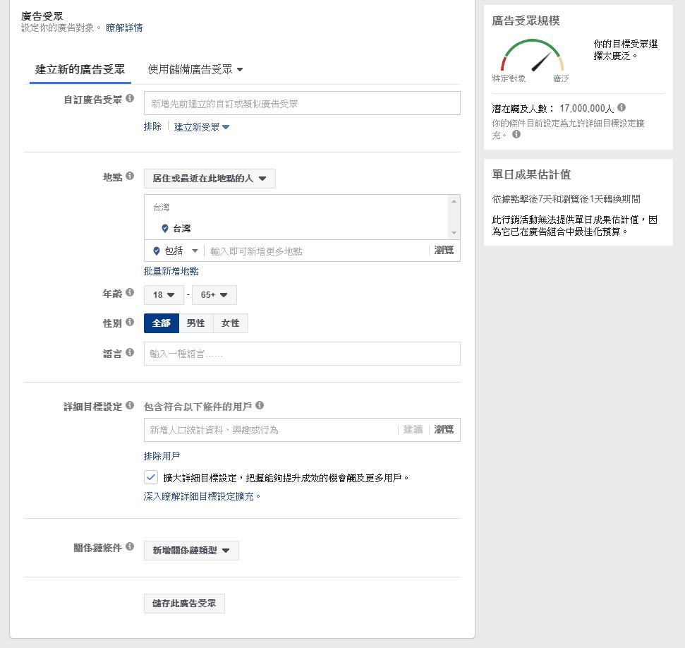 Facebook廣告受眾版面
